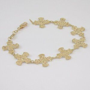 14K Gold I LOVE YOU Tulip Cross Bracelet
